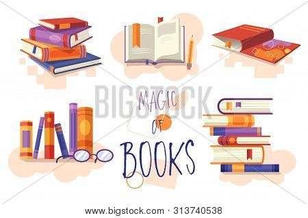 Magic Of Books Set Of Icons Or Design Elements Showing Stacked Books, Open Book For Reading, Row On
