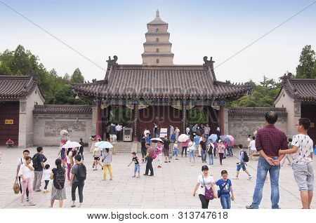 August 19, 2015. Xian, China.  Crowds Of People Outside The Giant Wild Goose Pagoda Or Dayan Pagoda