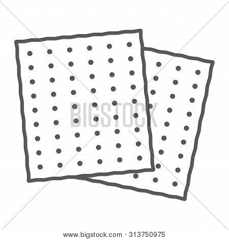 Matza Thin Line Icon, Food And Israel, Jewish Bread Sign, Vector Graphics, A Linear Pattern On A Whi