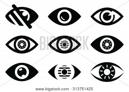 Set Of Eye Icon, Eye Icon Pack, Eye Icon Vector In Modern Flat Style For Web, Graphic And Mobile Des