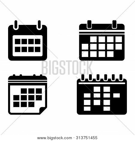 Set Of Calendar Icon Isolated Black On White Background, Calendar Icon Vector Flat Modern, Calendar