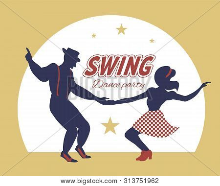 Swing dance couple silhouette with stars and circle on background. 1940s and 1930s style. Woman in skirt with dots and man with suspenders and hat. Flat vector illustration. poster