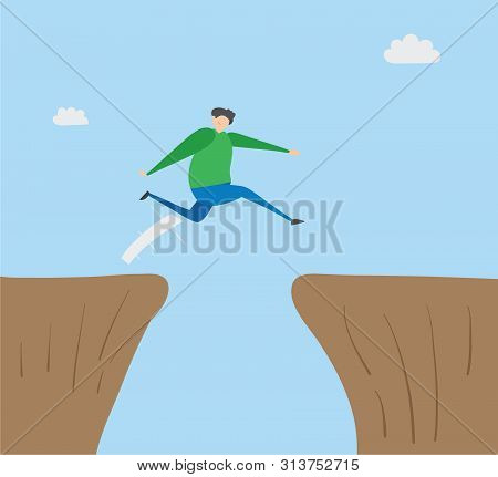Man Jumping Over Abyss, Hand-drawn Vector Illustration. Colored Flat Style.