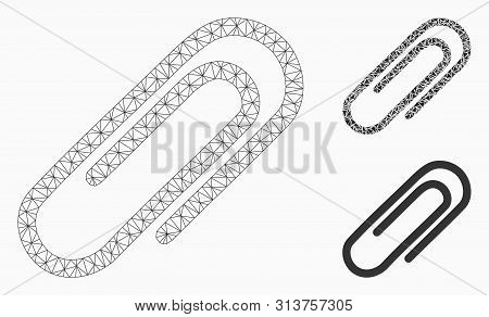 Mesh Paperclip Model With Triangle Mosaic Icon. Wire Frame Triangular Mesh Of Paperclip. Vector Mosa