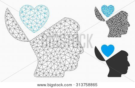 Mesh Open Mind Love Heart Model With Triangle Mosaic Icon. Wire Carcass Polygonal Network Of Open Mi