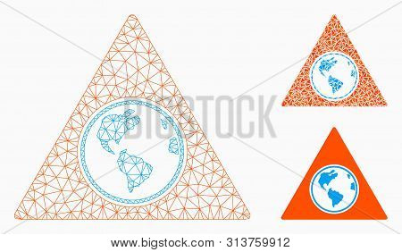 Mesh Terra Triangle Model With Triangle Mosaic Icon. Wire Frame Polygonal Mesh Of Terra Triangle. Ve
