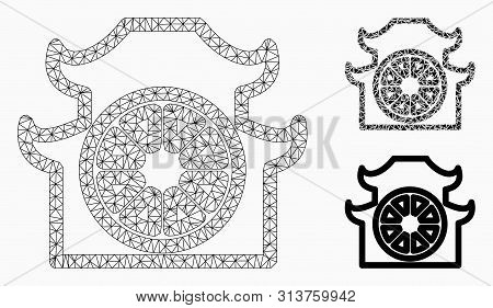 Mesh Pagoda Model With Triangle Mosaic Icon. Wire Frame Triangular Mesh Of Pagoda. Vector Mosaic Of
