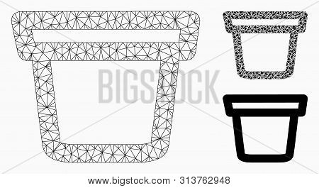 Mesh Pail Model With Triangle Mosaic Icon. Wire Frame Polygonal Mesh Of Pail. Vector Mosaic Of Trian