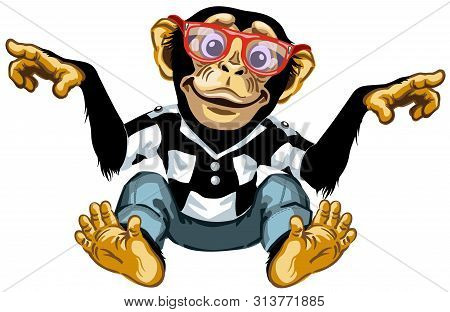 Cartoon Chimp Ape Or Chimpanzee Monkey Wearing Glasses And Smiling Cheerful With A Big Smile. Positi
