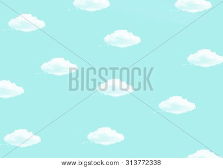 Bright Blue Background With A White Clouds Print