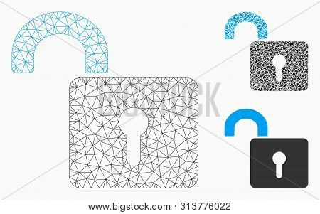 Mesh Unlock Model With Triangle Mosaic Icon. Wire Frame Polygonal Mesh Of Unlock. Vector Collage Of
