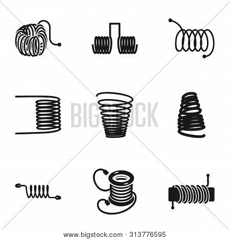 Spring Coil Icon Set. Simple Set Of 9 Spring Coil Vector Icons For Web Design Isolated On White Back