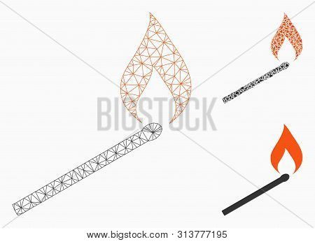 Mesh Match Ignition Model With Triangle Mosaic Icon. Wire Frame Polygonal Mesh Of Match Ignition. Ve