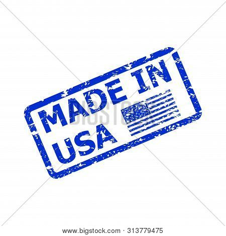 Made In America, Product From Usa, Rubber Stamp Sketch. American Quality Rubber Stamp, Vector Manufa