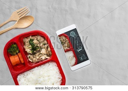 Food Delivery Service For Order Online By Smartphone And Icon Media Symbol On Screen For Ordering Fo