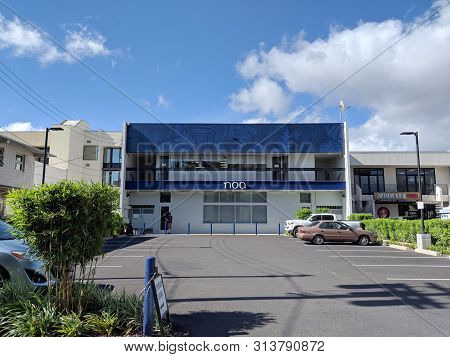 Honolulu - July 11, 2018: Noa Botanicals Dispensary And Parking Lot.  As One Of The First Dispensari