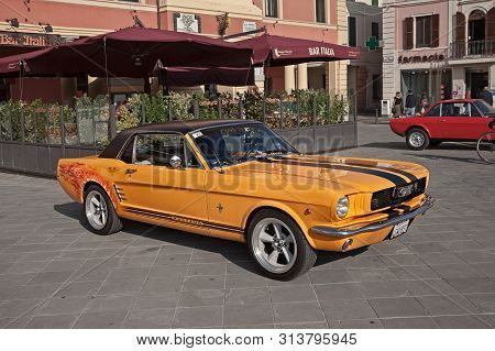 Forlimpopoli, Fc, Italy - October 15, 2017: Vintage American Sports Car Ford Mustang Parked During T