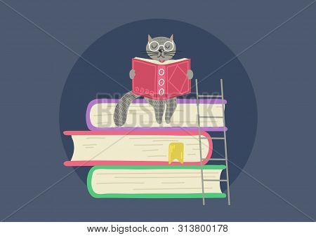 Storytelling. Fantasy Clever Cat Reading Book. Cat Sitting On Stack Of Books.vector Illustration.