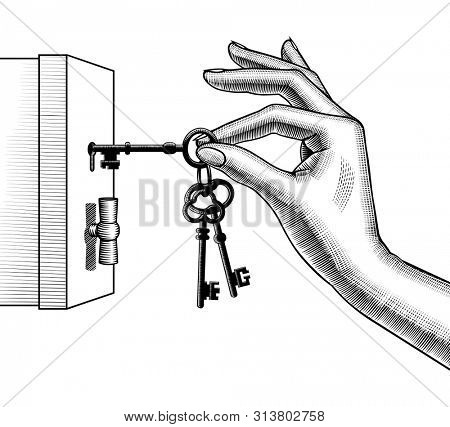 Female hand unlocks a safe with bunch of keys. Vintage engraving stylized drawing