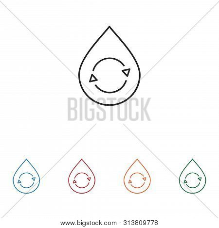 Recycle In Water Drop Icon Isolated On White Background. Recycle In Water Drop Icon In Trendy Design