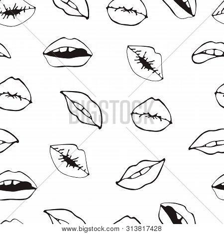 Lips Seamless Pattern. Cosmetics And Makeup Seamless Pattern. Closeup Beautiful Lips Of Woman With R