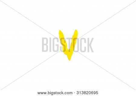 Yellow Letter V From Sunflower Petals Fonts,  Alphabet Element, Beauty Decorative  Font Isolate Of A