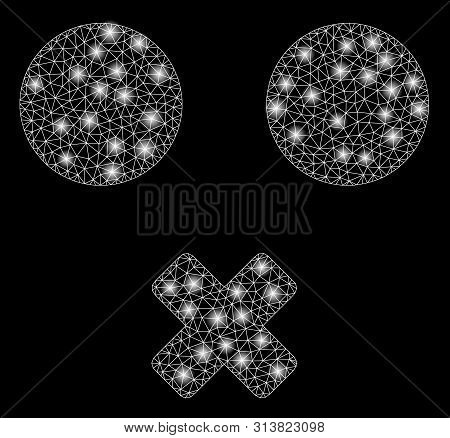 Flare Mesh Mute Smiley With Glare Effect. Abstract Illuminated Model Of Mute Smiley Icon. Shiny Wire