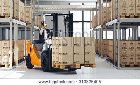 Warehouse of a freight forwarder with forklift and boxes on a pallet (3d rendering)