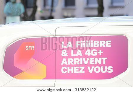 Paris France - May 23, 2019: Sfr Internet Mobile Phone Company France