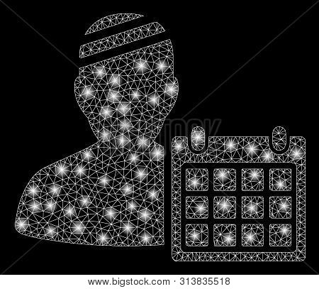 Glowing Mesh Patient Appointment Calendar With Sparkle Effect. Abstract Illuminated Model Of Patient