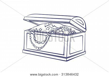 Treasure Box For Storage Of Jewelry Outline. Decorative Casket With Gold Coins, Necklaces.