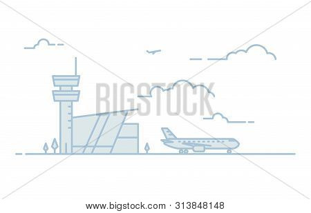 National Airport Line Illustration. Big Passenger Airplane And Airport Building With Tower On Backgr