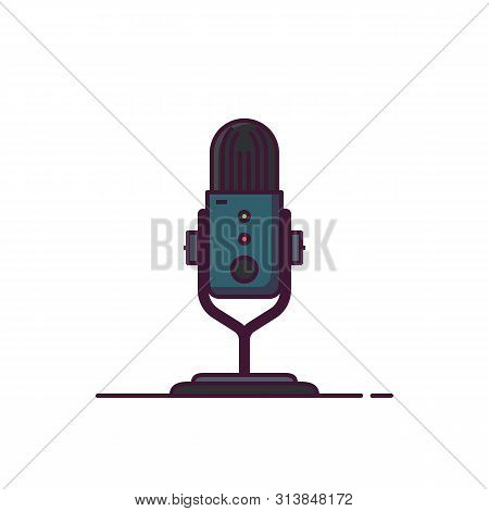 Modern Professional Podcast Microphone Line Style Illustration. Interview Or Radio Show Icon. News A