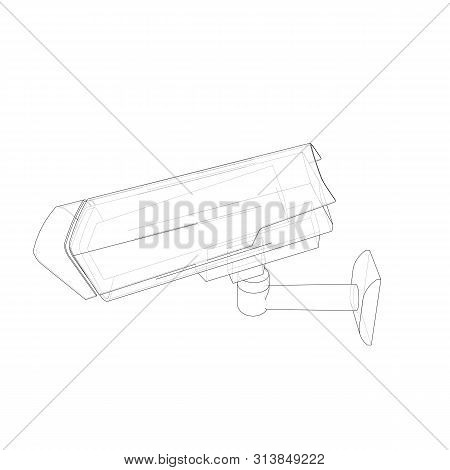 Outline Cctv Camera. Security Camera. Vector Rendering Of 3d. Wire-frame Style. The Layers Of Visibl