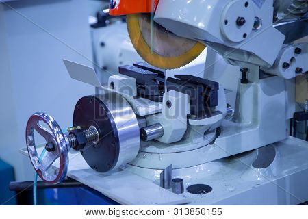 Close-up Of Circular Buzz Sawing Machine And Cutting Table