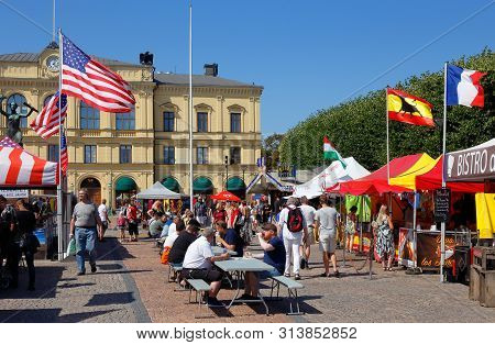 Karlstad, Sweden - July 26, 2019: International Food Event With Representation From Countrys Around