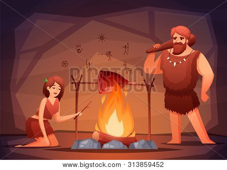 Stone Age Prehistoric Home Interior Flat Composition With Caveman Family Cooking Meat Over Open Fire