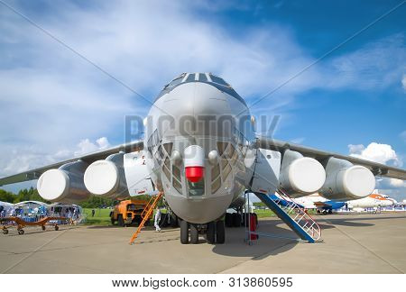 Zhukovsky, Russia - July 20, 2017: A Heavy Military Transport Aircraft Il-76md-90a Close Up. Fragmen