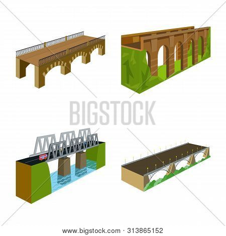 Vector Illustration Of Bridgework And Architecture Icon. Collection Of Bridgework And Structure Stoc
