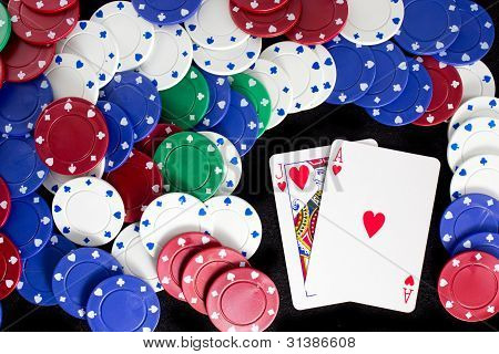 Ace, Jack, and Casino Chips