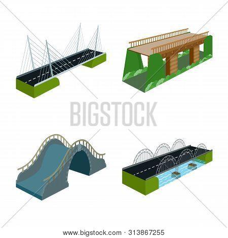 Vector Design Of Bridgework And Architecture Icon. Collection Of Bridgework And Structure Vector Ico