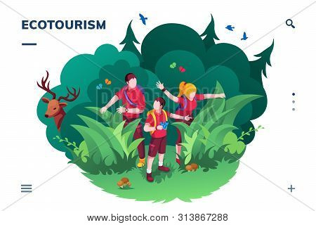Ecotourism Screen For Smartphone Application Or Eco Tourism Landing Page. Family Walking At Wood Or