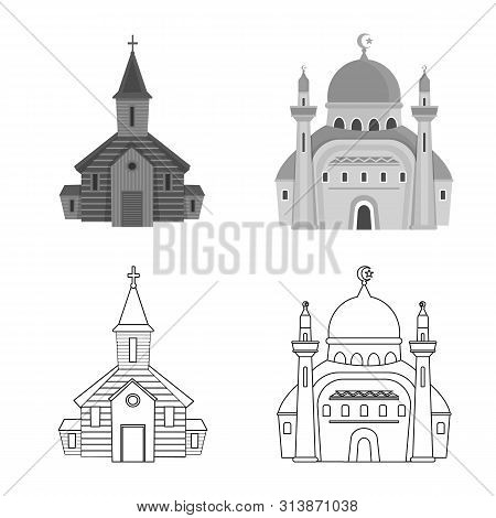 Vector illustration of cult and temple sign. Set of cult and parish stock vector illustration. poster