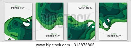 Banners Set 3d Abstract Background, Green Paper Cut Shapes. Vector Design Layout For Business Presen