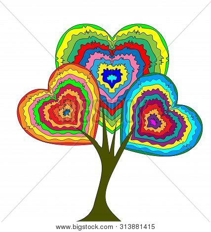 White Background And The Abstract Heart-shaiped Tree