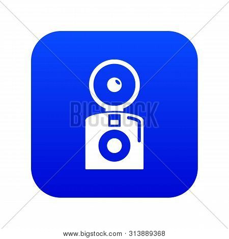 Oldschool Camera Icon Blue Isolated On White Background