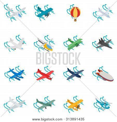 Aeronaut Icons Set. Isometric Set Of 16 Aeronaut Icons For Web Isolated On White Background