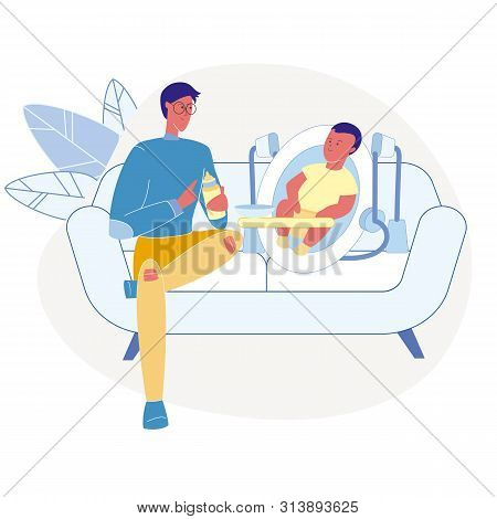 Father Feeding Infant Flat Vector Illustration. Young Dad, Male Babysitter and Toddler Sitting on Couch Cartoon Characters. Happy Parent holding Baby Food Bottle. Childcare, Parental Care, Babysitting poster