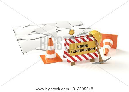 Under Construction Concept 3d Image On White Backqround