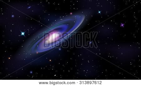 Vector Template Of Cosmic Galaxy, Shining Stars On Night Sky Background. Space Horizontal Background